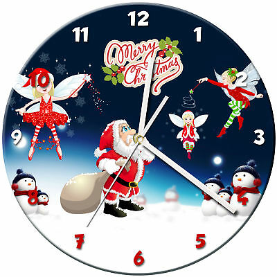 Christmas Xmas Glass Wall Clock Learn Gift Bedroom Gaming Kids - 08