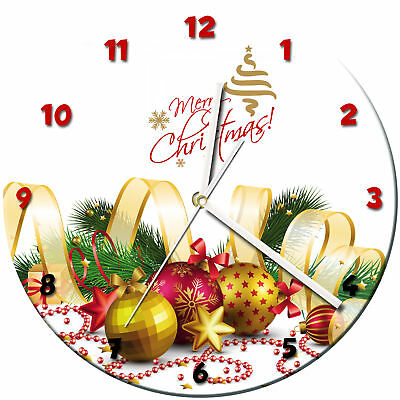 Christmas Xmas Glass Wall Clock Learn Gift Bedroom Gaming Kids - 09