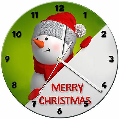 Christmas Xmas Glass Wall Clock Learn Gift Bedroom Gaming Kids - 14