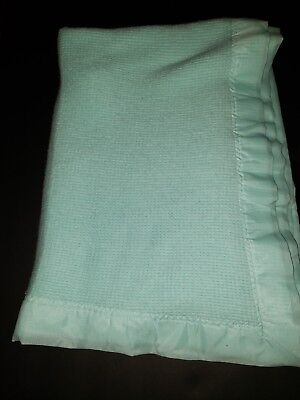 Baby Blanket Thermal Waffle Weave Cotton Aqua and Satin Trim
