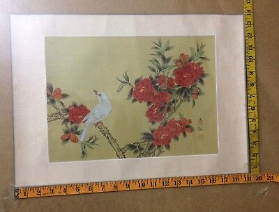 Japanese Watercolor Painting White Bird With Blossoms