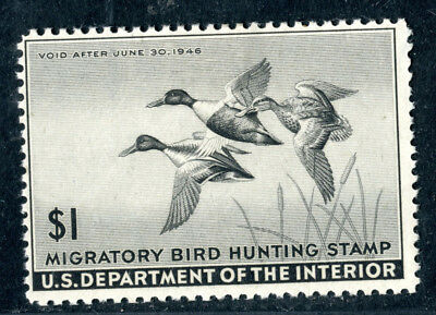 RW 12 Duck stamp 1945, mint hinged, cv $40, Uncle Quick