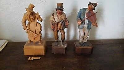 3 Vintage Hand Carved Wooden Figurines From Germany