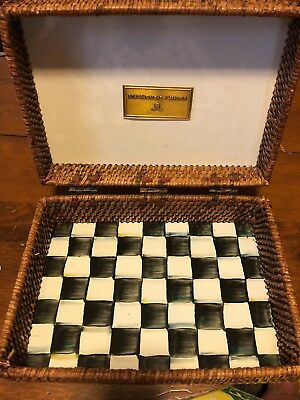 Discontinued Mackenzie-Childs Courtly Check Enamel & Rattan Stationary Box