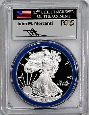 2018 W $1 Proof Silver Eagle PCGS PR70 DCAM Mercanti Signed Mint Engraver Series