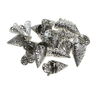50pcs Silver Filigree Cone Flower Bead Caps for Jewelry Making Beading Craft