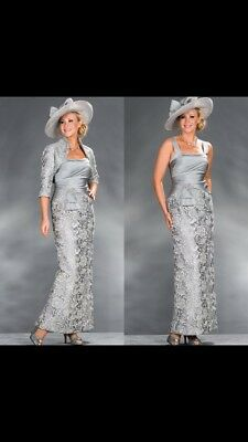Beautiful Designer Wedding guest Outfit (mother Of The Bride) Size 16/18 Grey