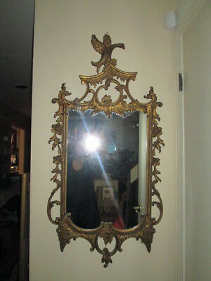 Large Ornate Hand Carved Early 20thC French Style Antique Mirror OUTSTANDING 46""