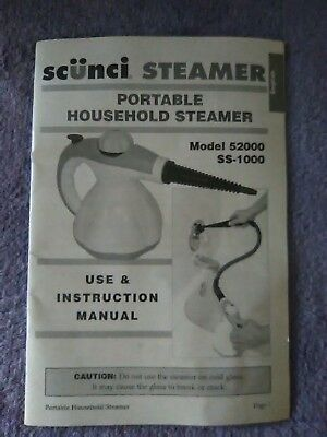 Scunci steamer ss1000 handheld steam cleaner with accessories bag.