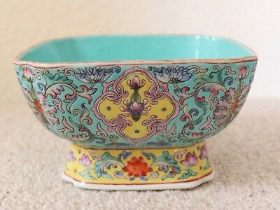 Antique Chinese Square Pedestal Signed Bowl