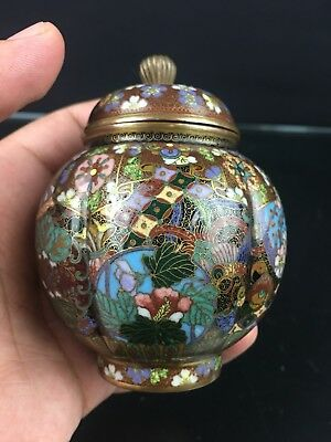 Highly Decorative Floral Antique Japanese Meiji Period Cloisonne Vase NO RESERVE
