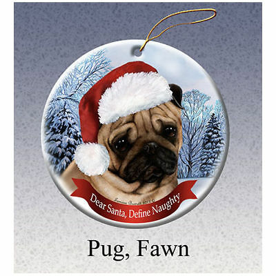 Pug Fawn Howliday Porcelain China Dog Christmas Ornament