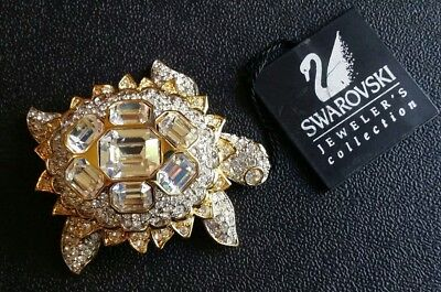 Swan Signed Swarovski Pave' Crystal Turtle Pin Brooch Retired Rare New W/ Tag