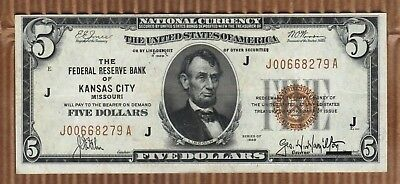 $5 1929 Five Dollar National Federal Reserve Bank Note Currency Kansas City Bill
