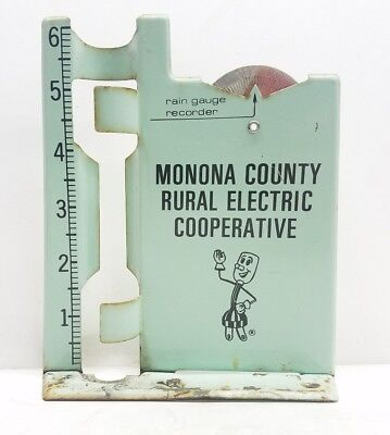 Vtg Advertising Metal Rain Gauge Monona County Rural Electric Cooperative Iowa