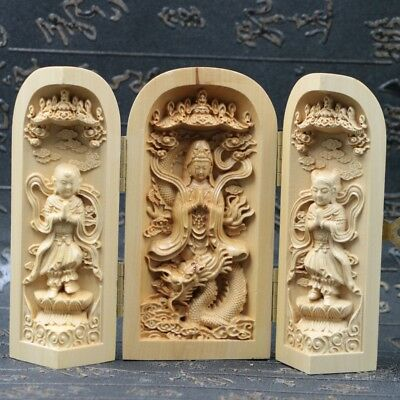 Chinese Boxwood Handmade Carved Three Dragon Kwan-yin Open Box a3032