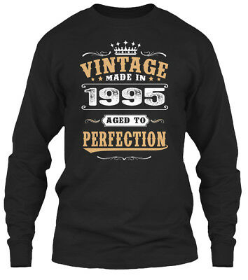 1995 Vintage Aged To Perfection Gildan Long Sleeve Tee T-Shirt