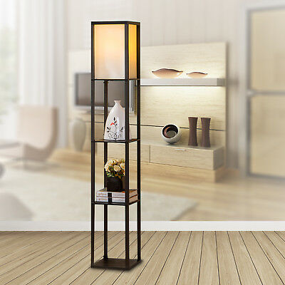 LED Floor Lamp Light Wood Shelf Black Shade Modern Style Storage Living Bedroom