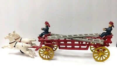 Early Antique Cast Iron Horse Drawn Fire Wagon Truck Men & Horses Original Paint