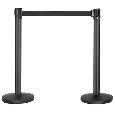 2 x High Quality Retractable Crowd Control Barrier Post QUEUE Black Belts Poles