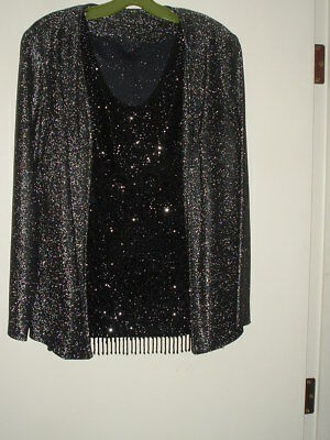Vintage Women's Beaded/sequined Cocktail Blouse With Black/silver Jacket Sz12