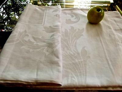 Vintage Chic White Damask Linen 70x106 Formal Banquet Tablecloth Acanthus Leaves