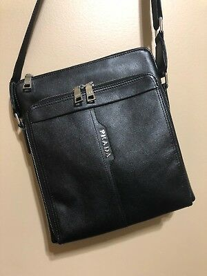 ab7872bc26ee AUTHENTIC PRADA MILANO Shoulder Bag Nylon Leather Black Made In ...