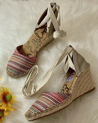 bcdc8ab9fc3 Sam Edelman Womens Patsy Wedge Espadrilles Sandals Womens NEW Multi Color