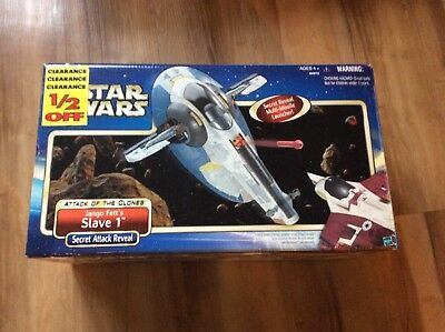Star Wars SLAVE 1 Jango Boba Fett Spaceship Ship vehicle AOTC Hasbro 2002