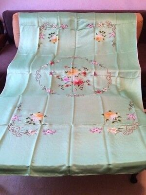 """Antique Chinese embroidered light green silk bedspread 1940-1950th 56"""" x 84"""""""