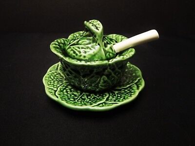 Bordallo Pinheiro Green Cabbage Leaf Condiment Bowl with Lid & Spoon