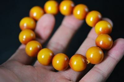 Exquisite Tibetan Beeswax 16mm ball Beads Prayer Bracelet F88