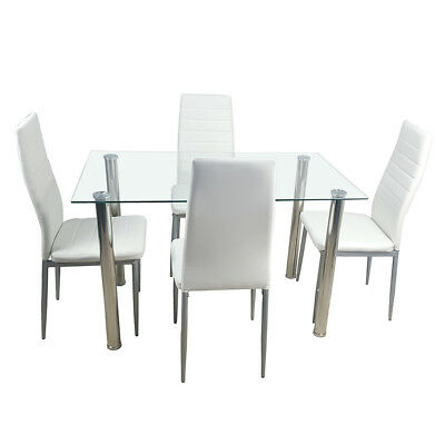5 Piece Dining Table Set w/4 Chairs Glass Faux Leather Kitchen Room Furniture