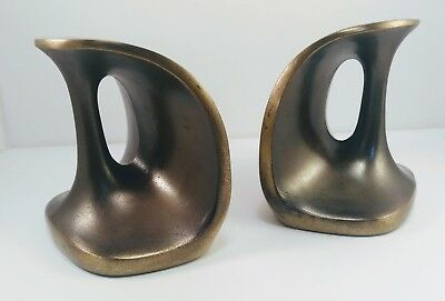 Vintage Ben Seibel Jenfred Ware Brass Handle Bookends Mid Century Modern 1950's