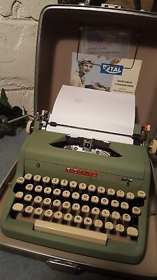 VTG 1956 Green Royal Portable Quiet Deluxe Typewriter Rare  W/Tweed Case Works