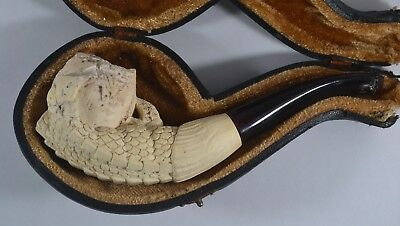 Vintage Carved Meerschaum Estate Pipe w/ Case - Large Dragon Claw