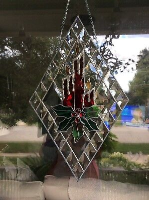 Beveled Glass Window Hanging with Stained Glass Candles and Holly