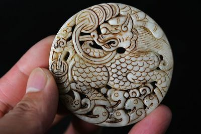 Delicate Chinese Old white Jade carved Two-sided *Unicorn* amulet Pendant   F88