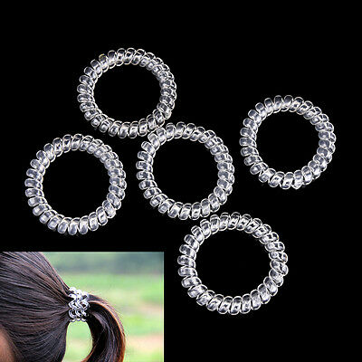 5X Lady Girl Clear Elastic Rubber Hair Ties Spiral Slinky Rubber Rope HairbandHV