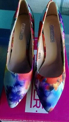 Ladies High Heel Shoes Size 39 (8) Floral Blue Print New