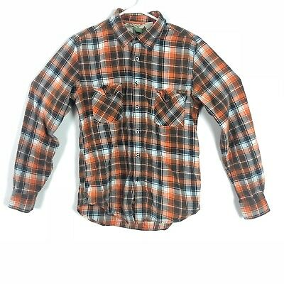 Paul Frank Wolf Tag Small Long Sleeve Button Up Shirt Men's Brown Orange  Plaid