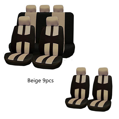 Beige 9pcs Universal Car Seat Protection Covers Full Set Cushion Four Seasons