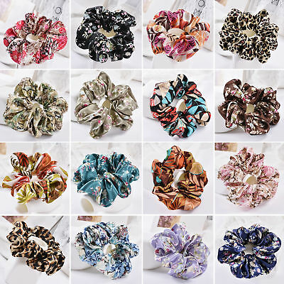 UK_ Lady Hair Scrunchies Bun Ring Elastic Floral Leopard Bobble Sports Scrunchy