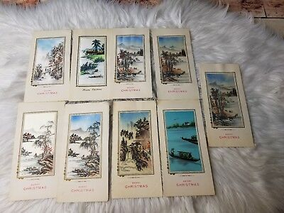 Lot of 9 Vintage VIETNAM WAR ERA Hand SILK Painted Pictures Christmas Cards NEW