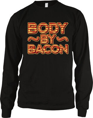 Body By Bacon Strips Fat Eat Food Love Belly Stomach Meat Workout Men's Thermal