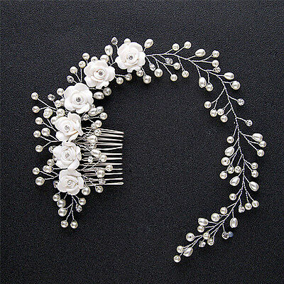 Chic Wedding Hair Jewelry For Bridal Pearl Hair Comb Hand Made Hair Accessory HV