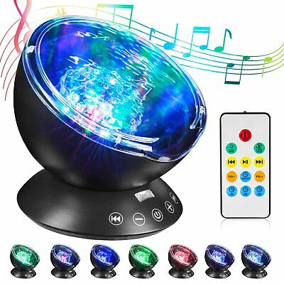 RC Ocean Wave Music Projector 7 Colors Change LED Night Light Kid Bedroom Lamp