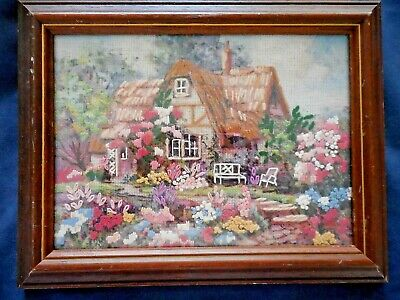 Craft Embroidered Picture Thatched Cottage And Garden Completed & Framed