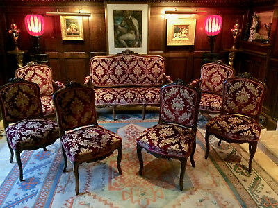 Antique Salon Suite Sofa Two Armchairs Four Side Chairs Seven Pieces Victorian 7