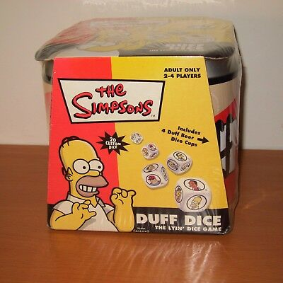 The Simpsons Duff Dice The Lyin' Dice Game  NEW SEALED 4 Duff Beer Dice Cups